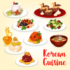 Korean cuisine icon of asian meat and fish dish