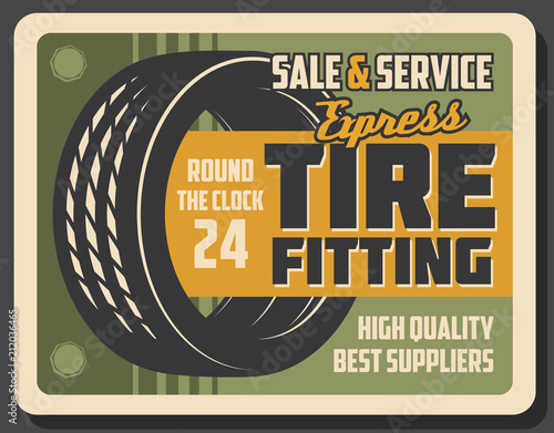 Tire fitting banner of car service or repair shop