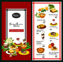 German and bavarian cuisine restaurant menu