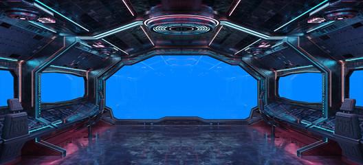 Wall Mural - Grunge Spaceship interior background 3D rendering