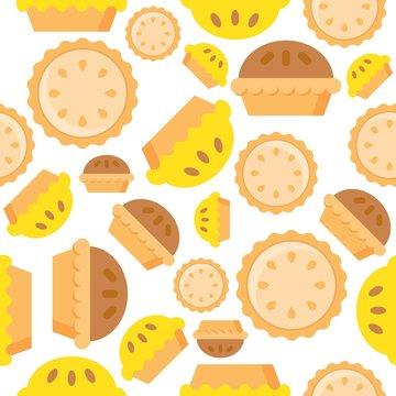 Pie Seamless pattern bakery product flat design
