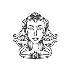Libra girl portrait. Zodiac sign for adult coloring book. Simple black and white vector illustration.