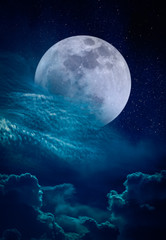 Landscape of night sky and bright super moon with many stars.