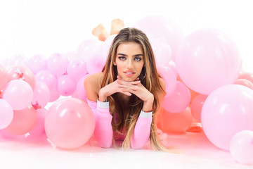 Beautiful woman with air balloons. Birthday, holiday, party, New Year, valentine day concept. Sexy girl lying on floor among balloons. Happy holiday decoration with balloons . Happy mood, happy life.