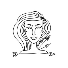 Sagittarius girl portrait. Zodiac sign for adult coloring book. Simple black and white vector illustration.
