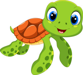Cute sea turtle cartoon isolated on white background