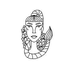 Scorpio girl portrait. Zodiac sign for adult coloring book. Simple black and white vector illustration.