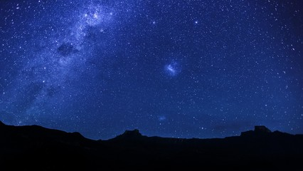 Milky Way over the Amphitheatre, Royal Natal National Park, Drakensberg, Kwazulu Natal, South Africa, Africa