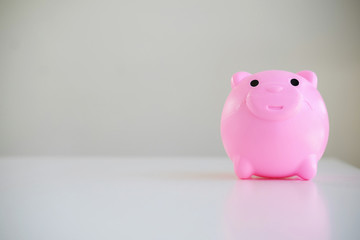 Front view of piggy bank . saving concepts