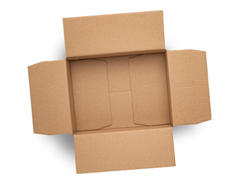 empty cardboard box on top isolated