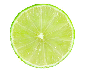 Juicy slice of lime, citrus fruit with green lemon half isolated on white background, Tropical fruit, Flat lay, top view.