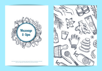 Vector hand drawn spa card, flyer template illustration