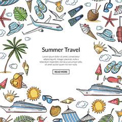 Vector hand drawn summer travel elements background