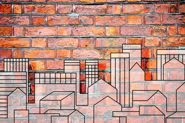 Imaginary urban skyline of a modern hypothetical city on a brick wall - concept image with copy space