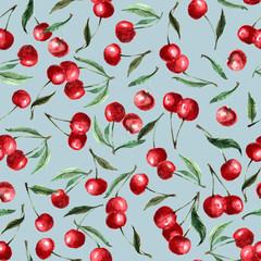Seamless pattern watercolor berry cherry and leaves. Repeating background. Hand drawn illustration Isolated on