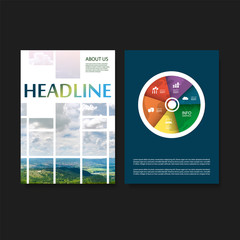 Modern Style Tiled Flyer or Cover Design for Your Business with Mountain and Sky View Image - Applicable for Reports, Presentations, Placards, Posters - Creative Vector Template