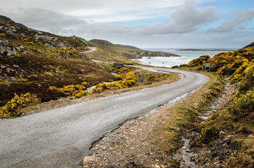 Costal road higlands, landscape. Scotland, Great Britain