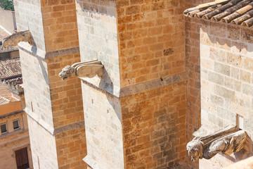 Gargoyles of the Cathedral of Santa Maria of Palma, also known as La Seu. Palma, Majorca, Spain