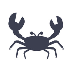 Crab black icon. Inhabitants of the sea depths, sea food. Flat vector cartoon illustration. Objects isolated on a white background.