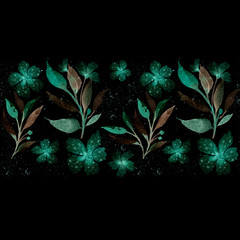 Seamless floral botanical border. Watercolor drawing. Suitable for fabric, ceramic tile, cover, wrapping paper. Emerald magical glowing flowers on a black background.