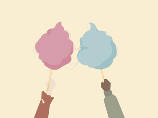 Illustration of hands holding cotton candy