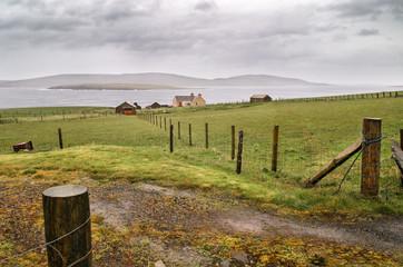 Scotland landscape, rural house farm