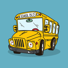 School bus illustration on color background