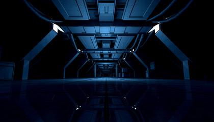 3D rendering of abstract dark blue sci fi futuristic space station or ship interior corridor design.