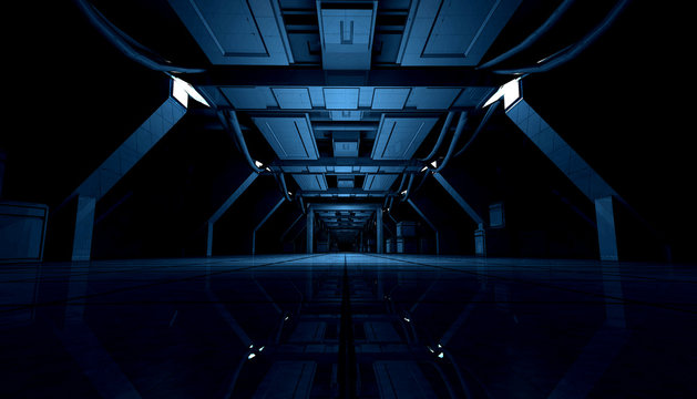 3D rendering of abstract dark blue sci fi futuristic space station or ship interior corridor design.