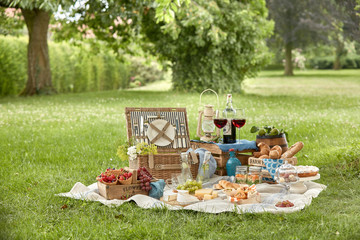 Poster Picnic Outdoor summer lifestyle with a gourmet picnic