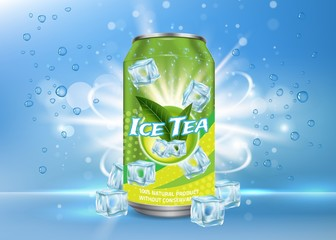 Ice tea poster, banner vector design template