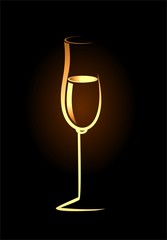sketch of isolated golden champagne glass