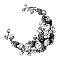 Isolated hand drawn wreath with strawberry and flowers. Round frame. Design for fruit tea, sweets, dessert menu, health care products, perfume, aromatherapy, greeting cards, invitations.