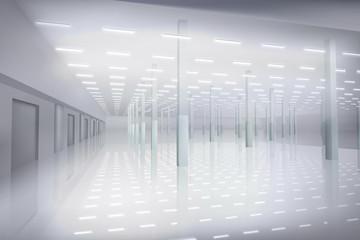 Empty factory hall. White interior. Vector illustration.