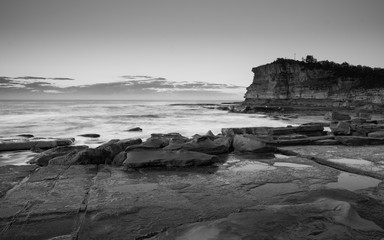 Black and White Early Morning Seascape with Headland