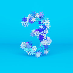 Winter alphabet number 3. Christmas font made of snowflakes. 3D render.