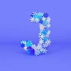 Winter alphabet letter J uppercase. Christmas font made of snowflakes. 3D render.