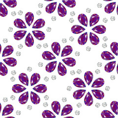 Flowers from precious stones. Seamless Pattern. Jewelry. White background