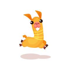 Happy funny llama alpaca cartoon character jumping vector Illustration on a white background