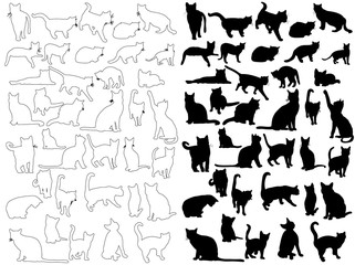 vector, isolated silhouette cat, collection
