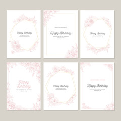 flowers greeting cards vector illustrations