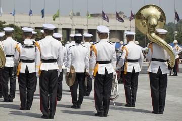Military band marching at the parade