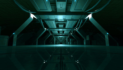 3D rendering of abstract dark cyan sci fi futuristic space station or ship interior corridor design.