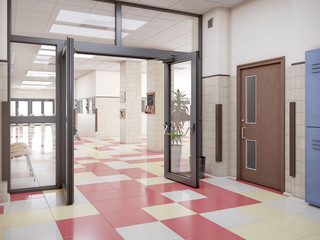 school hallway interior 3d illustration
