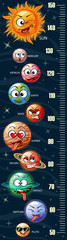 Stadiometer. Height measure. Meter wall with cute cartoon planets of the solar system