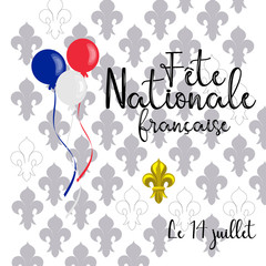 vector card design for celebration of Bastille day