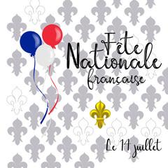 vector card design for celebration of Bastille day