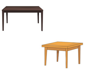 vector, isolated, table, two