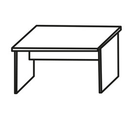 vector, isolated sketch of a computer table