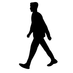 vector, isolated silhouette man walking